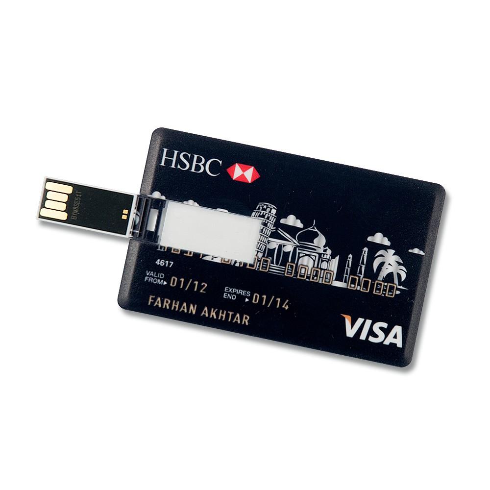 16GB Speicherkarte in Scheckkartenform HSBC VISA Schwarz USB Stick Datenspeicher