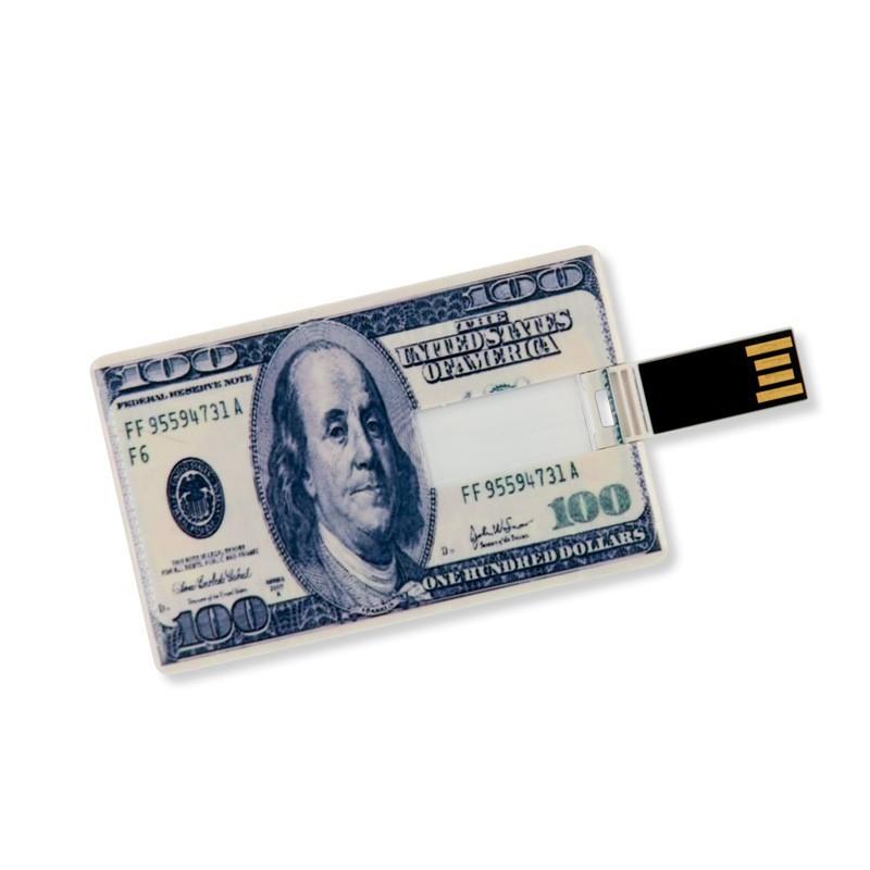 4GB Speicherkarte in Scheckkartenform 100 US Dollar USB Stick Datenspeicher