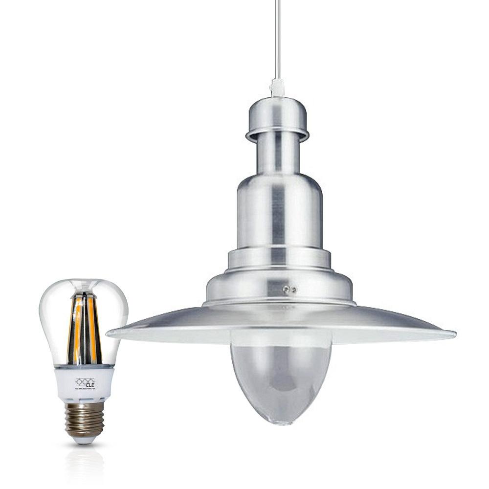 Gaga Lamp Design Fishermanlamp dimmbare LED Bulb warmton D: 31cm alugrau inkl. Apple Bulb  LED Retro Fit Wasserdeckenpendelleuchte