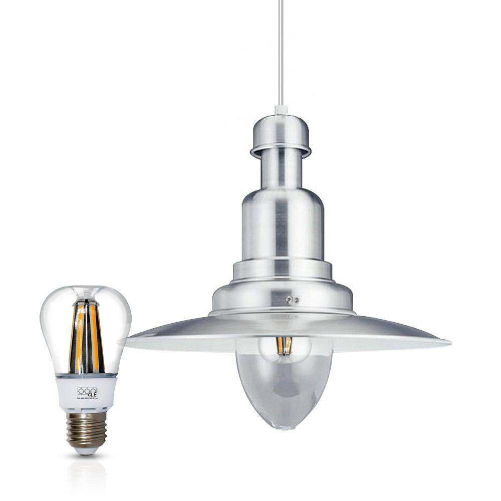 Gaga Lamp Design Fishermanlamp dimmbare LED Bulb warmton D: 40cm alugrau inkl. Apple Bulb LED Retro Fit Wasserdeckenpendelleuchte