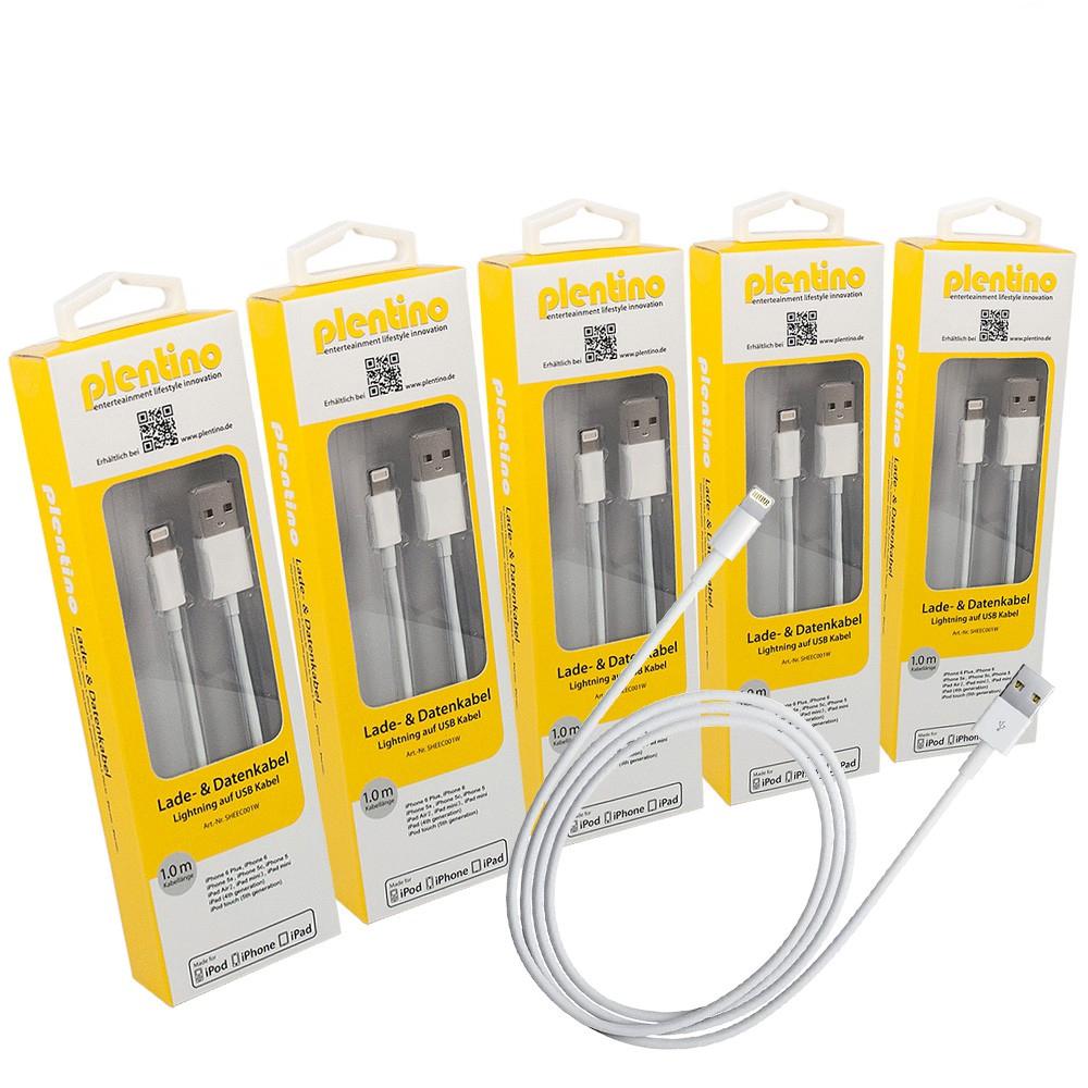 5 Stück Apple MFi Zertifiziert Lightning Kabel to auf USB 1 Meter neue Version weiß iPhone, iPod und iPad