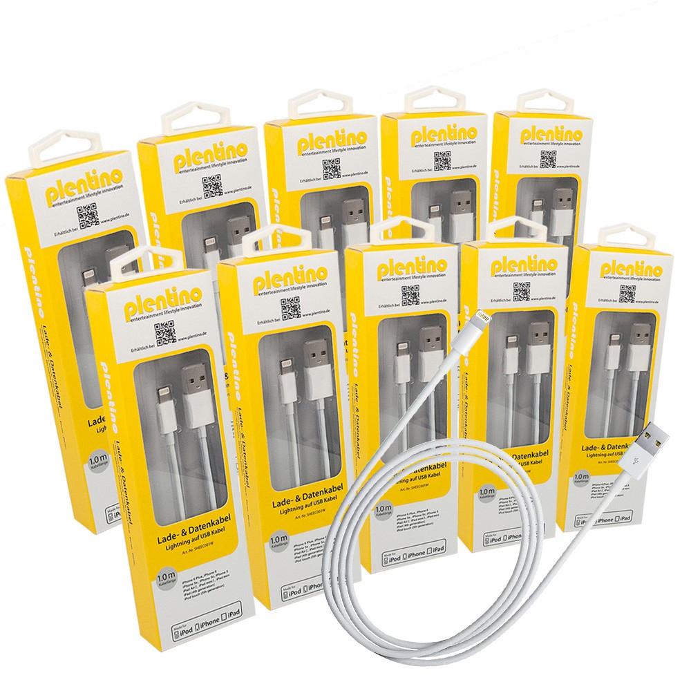10 Stück Apple MFi Zertifiziert Lightning Kabel to auf USB 1 Meter neue Version weiß iPhone, iPod und iPad