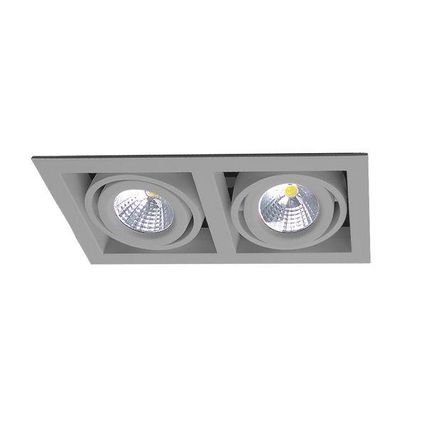 CLE LED Kardan Einbauleuchte YK2-HV alugrau 2x 6,5W warmweiß 230V