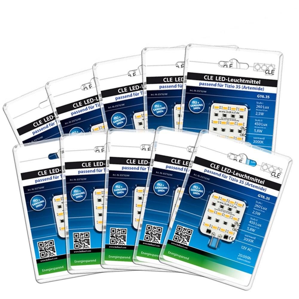 10x LED Ersatzleuchtmittel für Artemide Tizio 35/ 50 12V GY6.35 3000K 6 Watt (35 Watt)