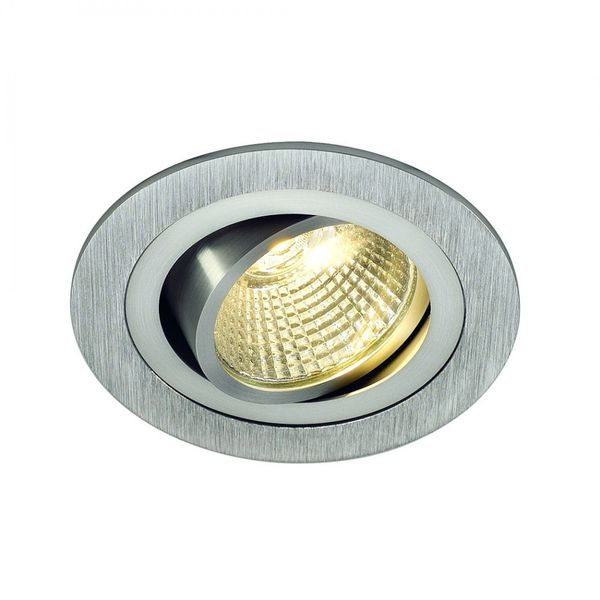 SLV NEW TRIA LED DL ROUND Set, alu-brushed, 12W, 38°,3000K,inkl. Treiber,Clipf.