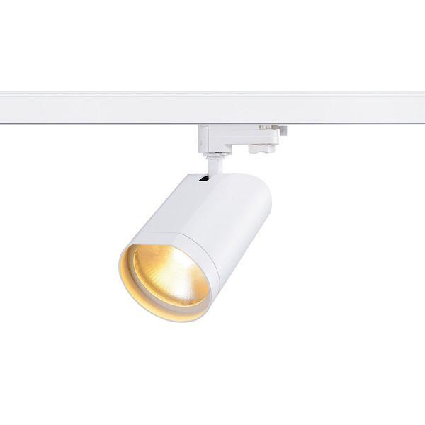 SLV BILAS SPOT 60° LED, rund, weiss, 15W, 2.700K, inkl. 3P.-Adapter