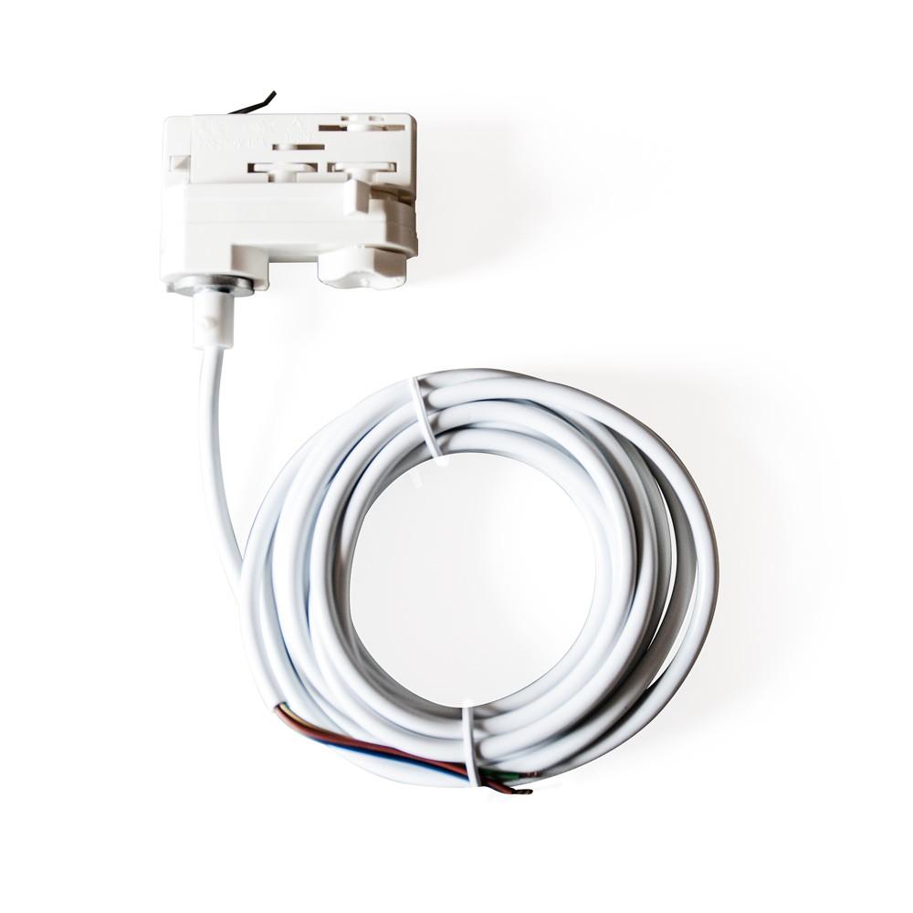 CLE 3-Phasen Stromschienenadapter Adapter weiß mit 5m Kabel und Endhülsen