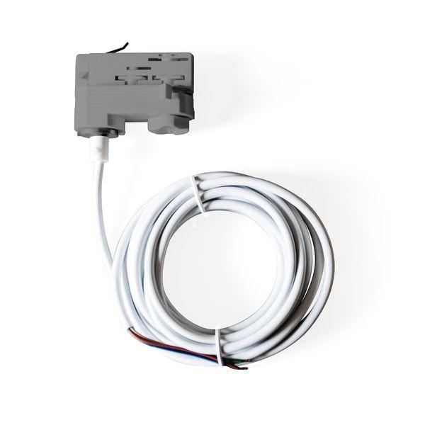CLE 3 Phasen Stromschienenadapter Adapter grau mit 5m Kabel und Endhülsen Staff Erco SLV Eutrac Hoffmeister Global Adapter – Bild 1