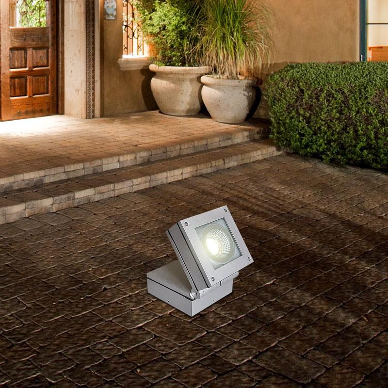 Gaga Lamp Design LED Decken-,Wand- und Boden Aufbauleuchte inkl. PHILIPS LED 10,5W 2700K 230V alu silbergrau Aussenleuchte inkl. Driver