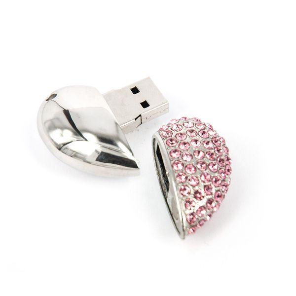 USB Stick Herz 16 GB Strass Pink Silber – Bild 3