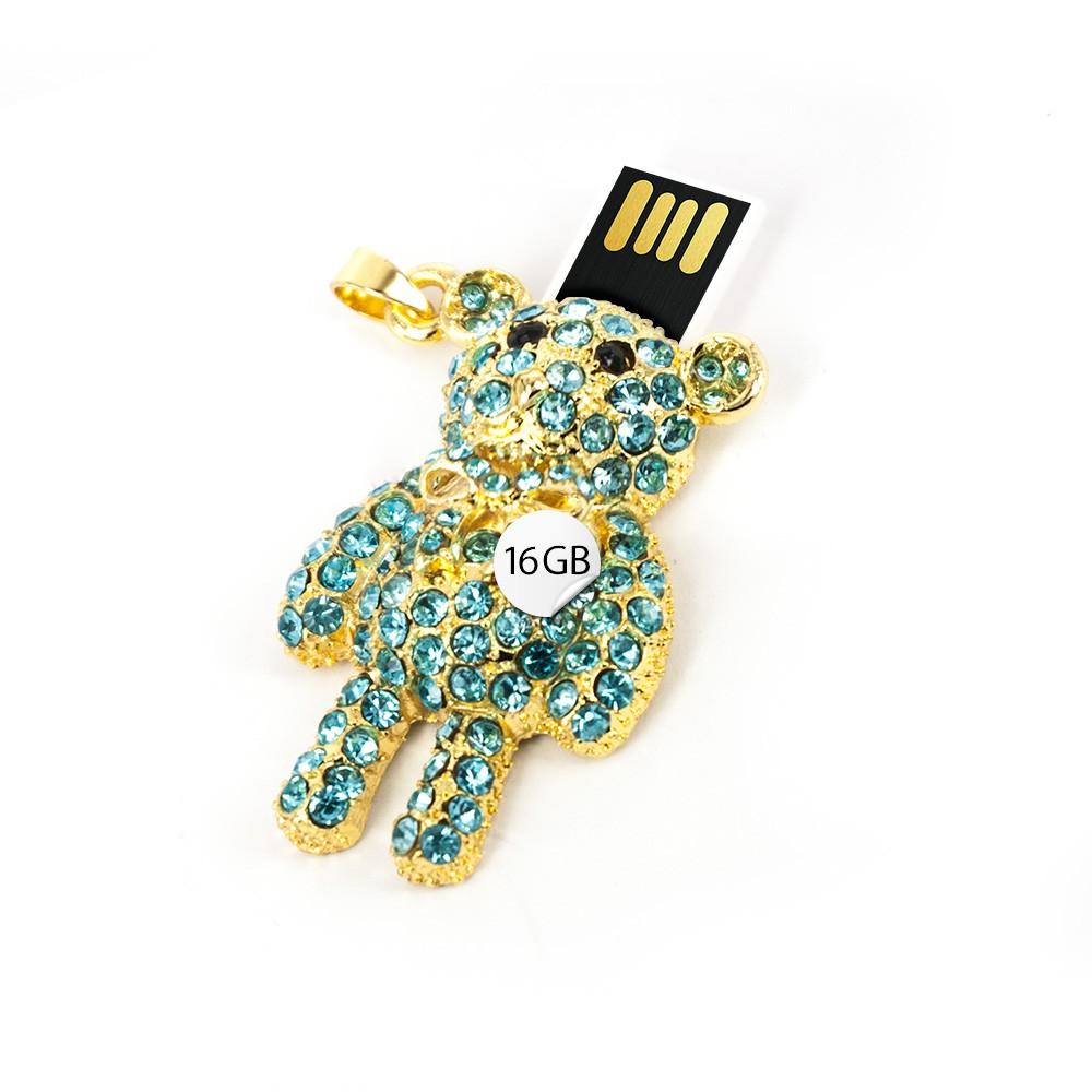 USB Stick Anhänger Bär 16 GB Strass blau gold farbig