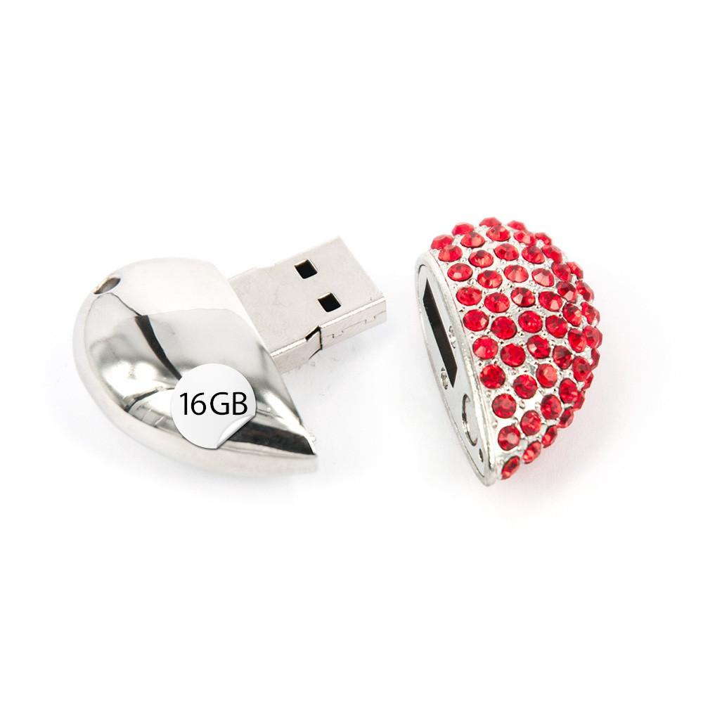 USB Stick Herz 16GB Strass Rot Silber Datenspeicher
