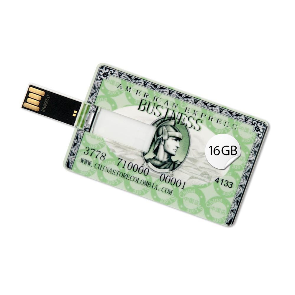 16GB Speicherkarte Scheckkartenform American Express Grün USB Stick Datenspeicher