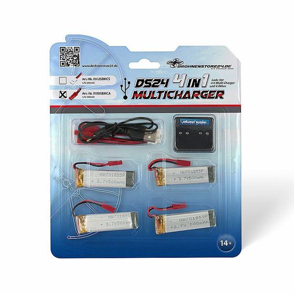 DS24 4-fach USB-Ladegerät RCY 4 Akkus 500mAh für Brick Drohne Aircraft JXD Pioneer – Bild 1