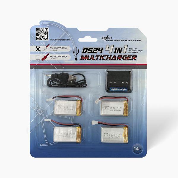 DS24 4-fach USB-Ladegerät XH Stecker inkl. 4 Akkus 600mAh Syma Cheerson Spooky Prober E902