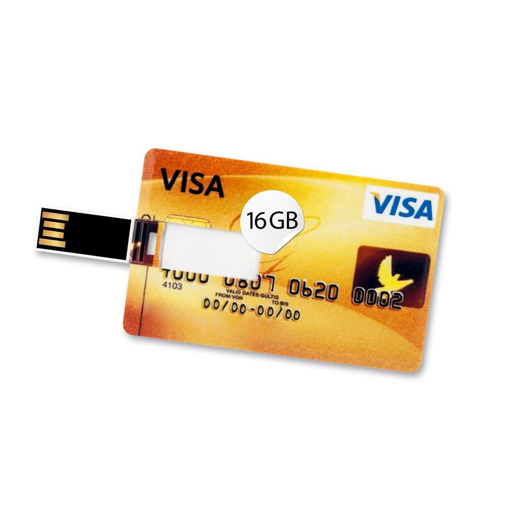 16GB Speicherkarte in Scheckkartenform Visa Card Gold USB Datenspeicher Stick