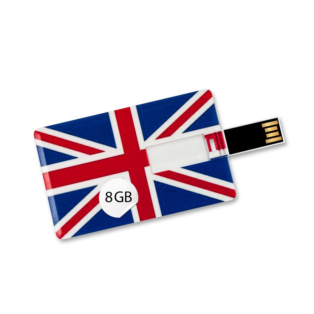 8GB Speicherkarte in Scheckkartenform, Flagge Großbritannien USB Card Datenspeicher