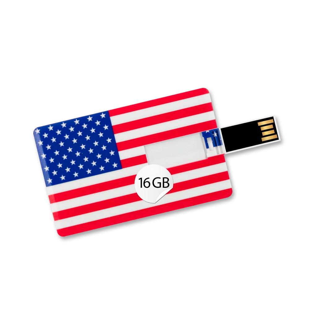 16GB Speicherkarte in Scheckkartenform Flagge USA USB Stick Datenspeicher