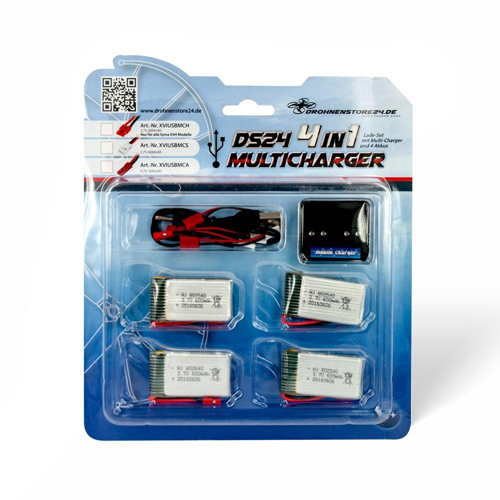 DS24 4-fach USB-Ladegerät 4 Akkus 600mAh Syma H Modelle X5HC X5HW