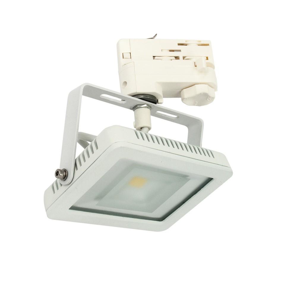 CLE LED Floodlight Stromschienstrahler weiß 10W 3500K 850lm neutralweiß 3 Phasen Adapter Breitstrahler