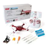 Syma X5UW Quadrocopter Metallic Rot Edition Drohne Hold Funktion WIFI FPV Kamera inkl. Copter Card