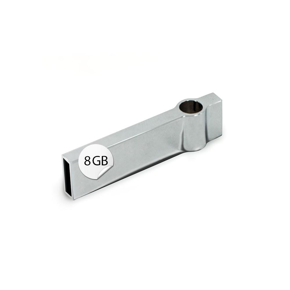 GADGET 8GB USB Stick Metall Anhänger für Kette o. Schlüsselring silber verchromt