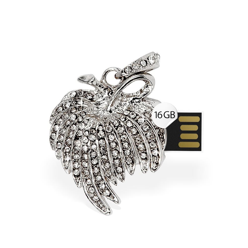 USB Stick 16GB Blatt Anhänger Strass Silber