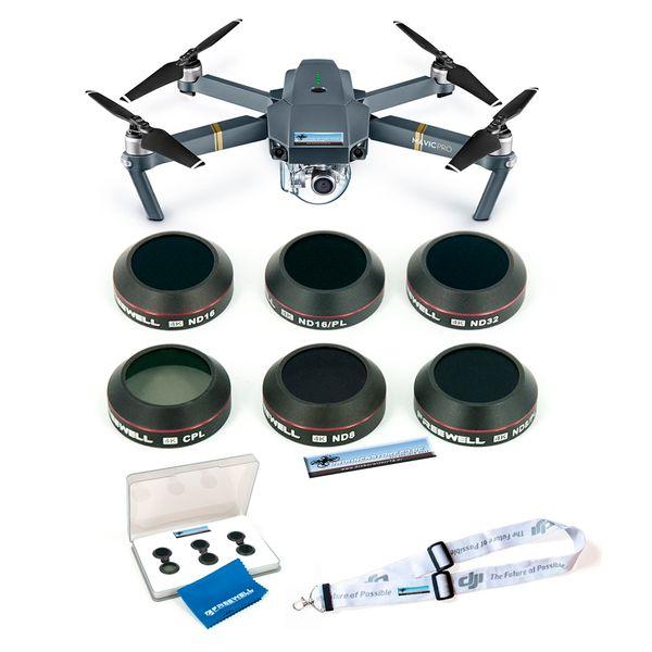 Premium DJI Mavic Filter Set - CPL, ND8, ND16, ND32, ND8-PL, ND16PL - inklusive hochwertiger Filterbox, Linsenreiniger und DJI Umhängegurt - Freewell