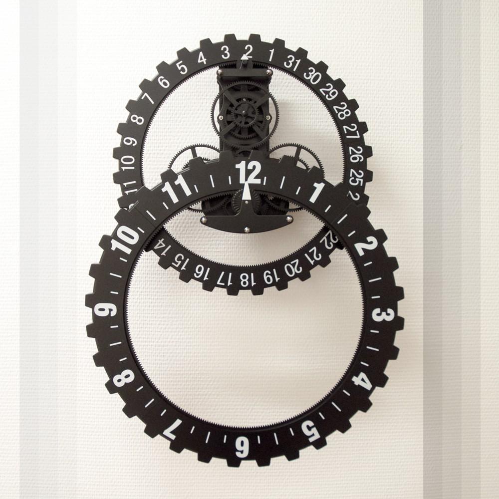gagatime big wheel new design wanduhr schwarz mit datum ebay. Black Bedroom Furniture Sets. Home Design Ideas