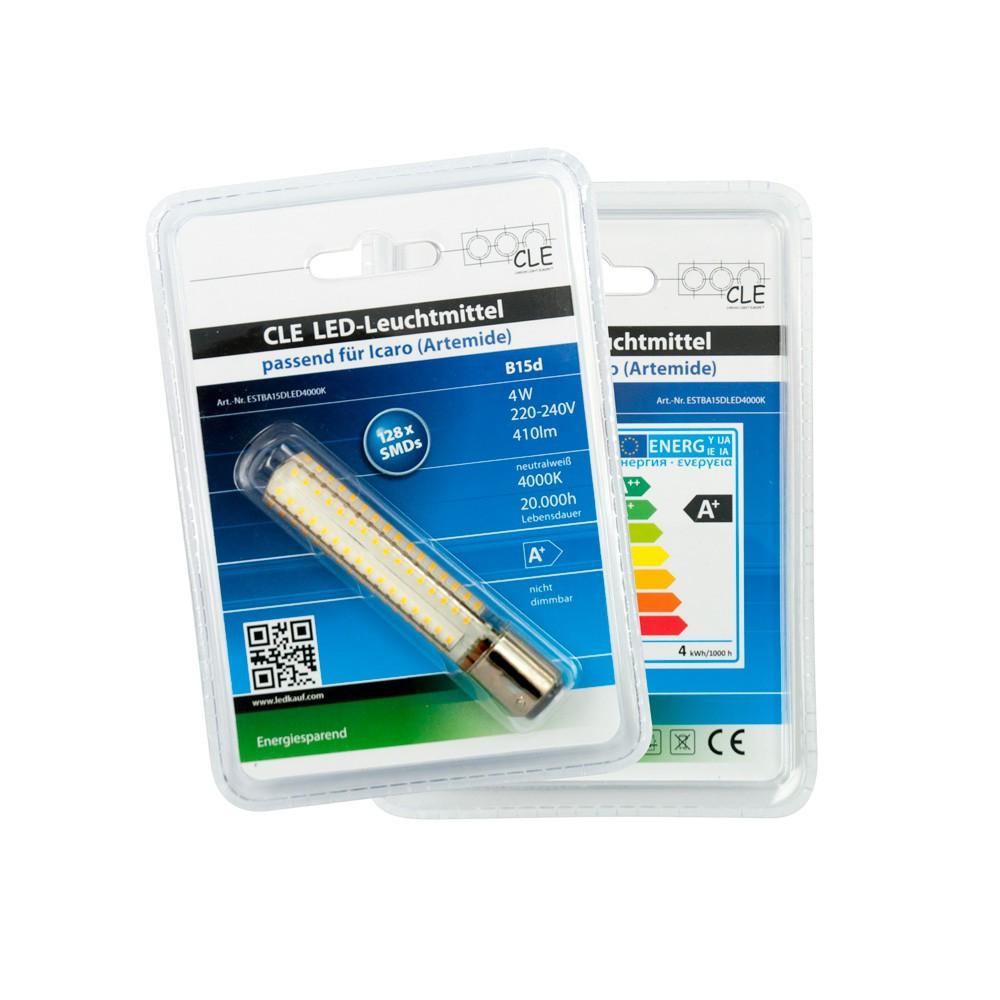 CLE LED Leuchtmittel Neutralweiß für Artemide Icaro Tobias Grau Ochio Puro 410lm B15d 4000K 4 Watt