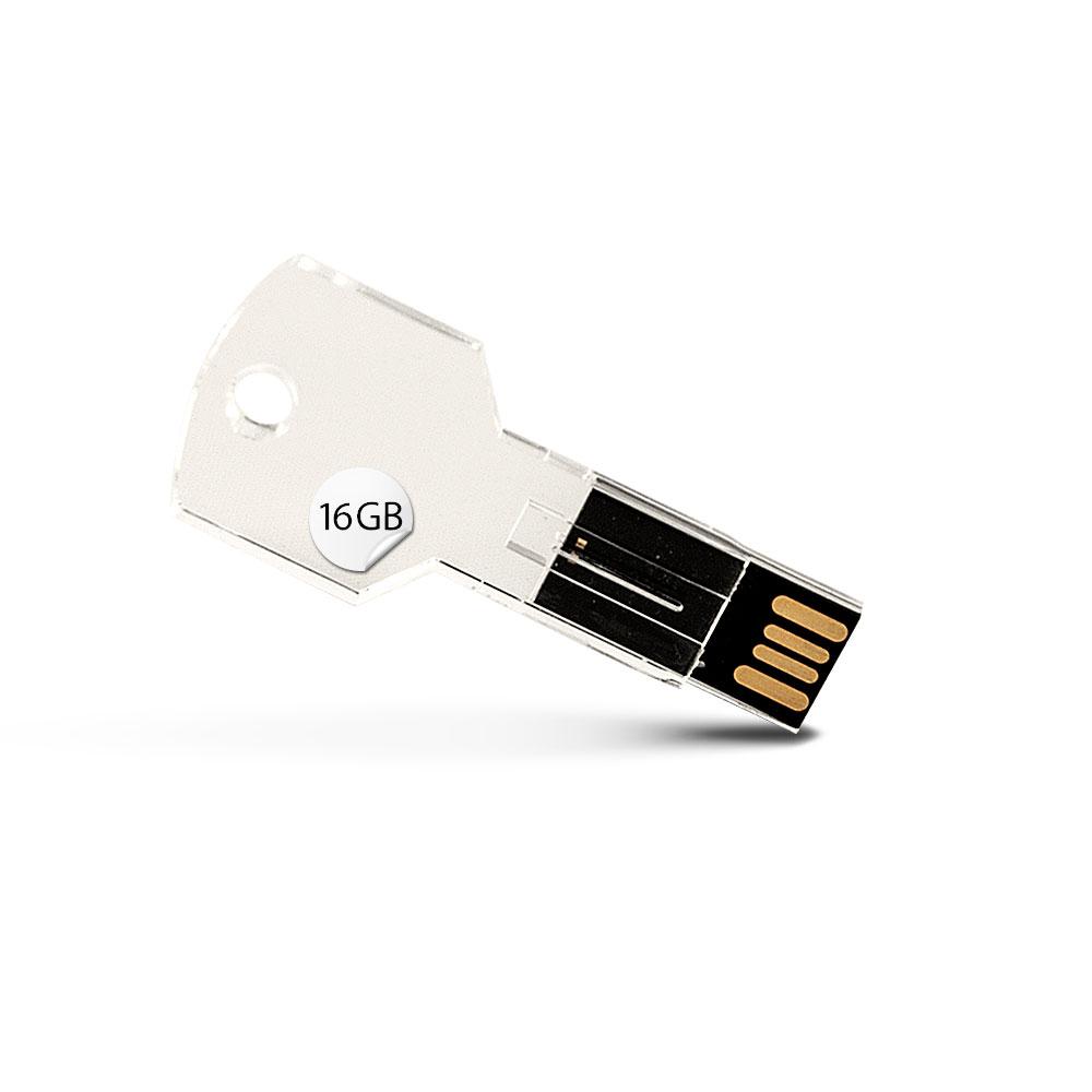 GADGET 16GB USB Stick Transparent Schlüssel Optik Speicherstick Datenspeicher