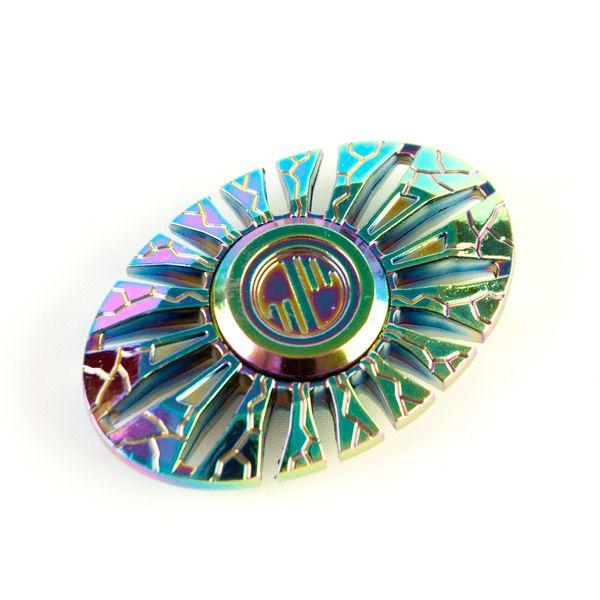 DS24 Premium Spinner OVAL Regenbogen Muster - Hand Spinner Metall - Profi Spinner - High Quality  DE frei Haus – Bild 3