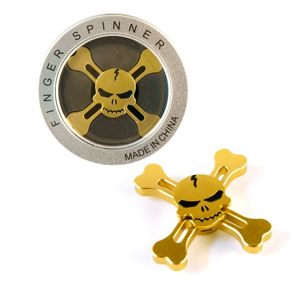DS24 Premium Spinner Totenkopf Gold Optik - Hand Spinner Metall - Profi Spinner - High Quality  DE frei Haus