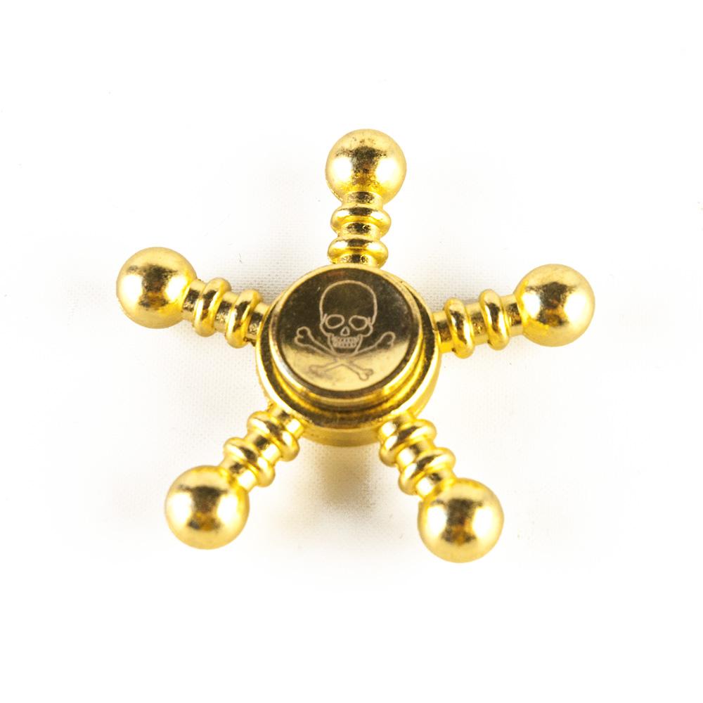 DS24 Premium Spinner Totenkopf Steuerrad Gold Messing Optik - Hand Spinner Metall - Profi Spinner High Quality  DE frei Haus