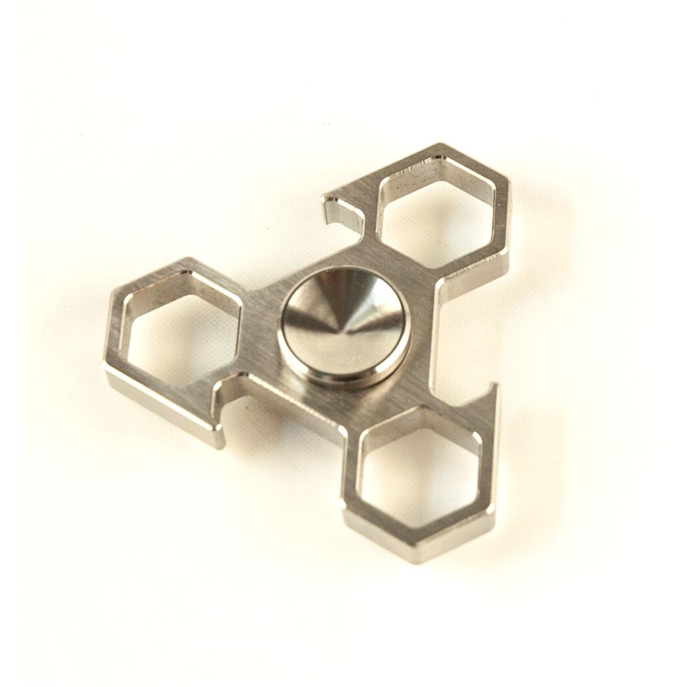 DS24 Premium Spinner TRIO 6Eck Silber - Hand Spinner Metall - Profi Spinner - High Quality  DE frei Haus