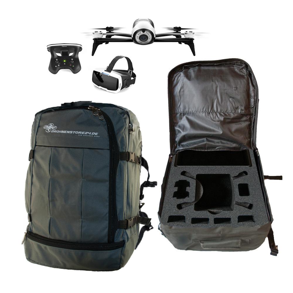 Hochwertiger Rucksack für Parrot Bebop 2 Skycontroller 2 und FPV Cockpitglasses  - Platz für viel Zubehör - DS24 Edition