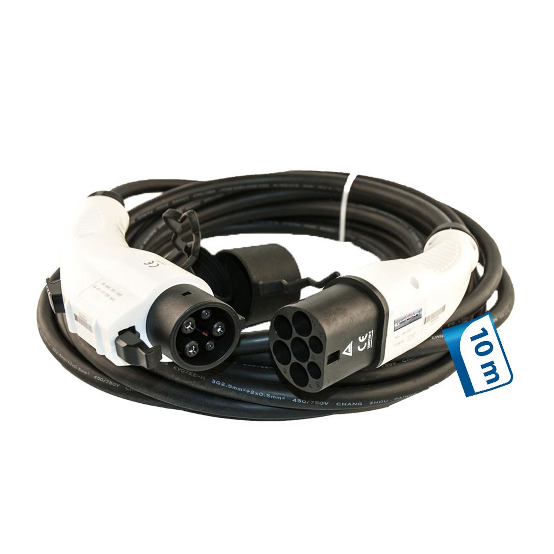 10m Ladekabel 1 Phasig 230V 3.6kW 16A Typ 2 zu Typ 1 für Wallbox Ladestation Wallbox24