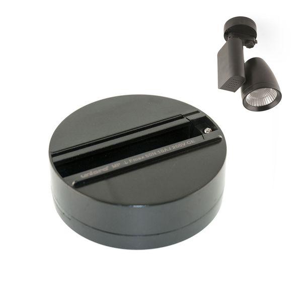 CLE Punktauslass schwarz für 3 Phasen Adapter zur Wand und Deckenmontage - Monopoint Anbaudose