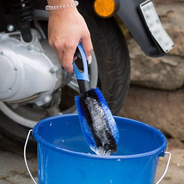 Premium Auto Felgenbürste mit gratis Stoffbeutel von CARmida - die beste Wahl zur Felgenreinigung - für Stahlfelgen und Alufelgen - Felgenreinigung in erstklassiger Qualität - Waschbürste - TOP Kundenservice - (Royal Blue)  – Bild 6
