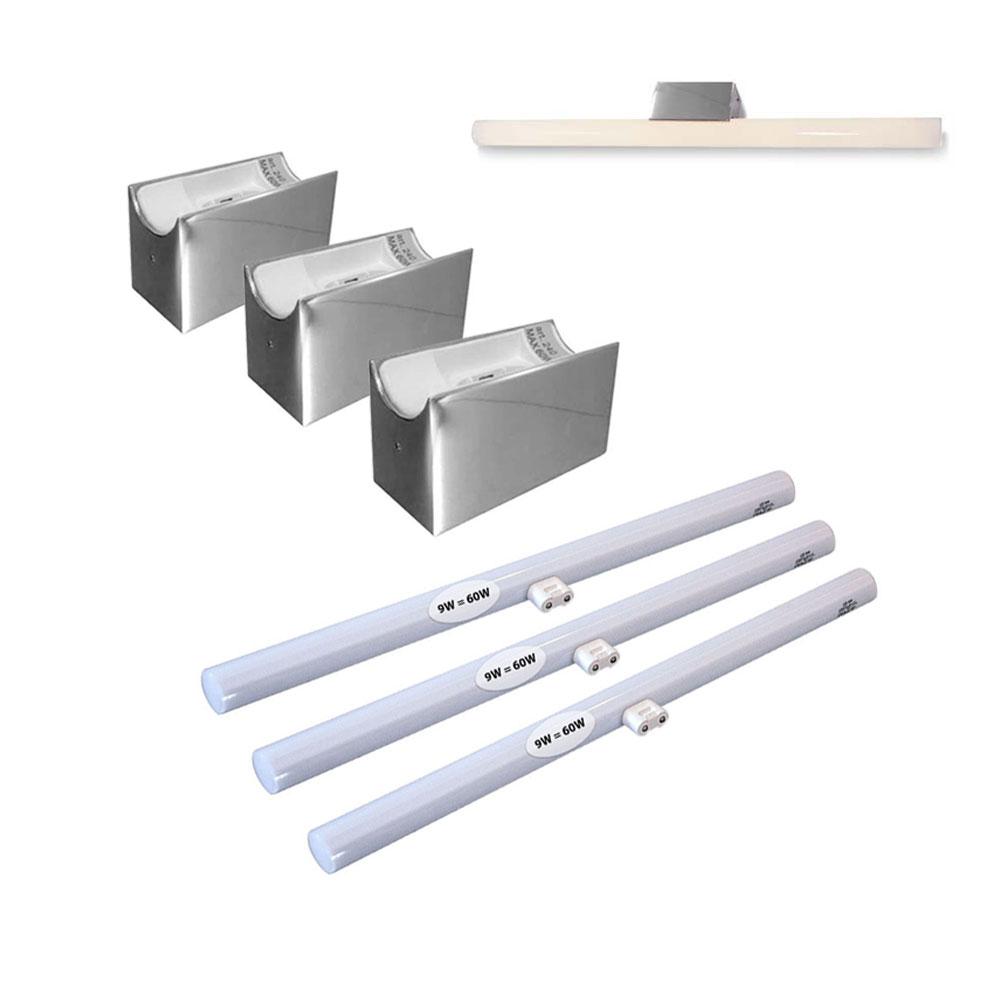 alutec spiegelleuchte 3er set mit led linestra. Black Bedroom Furniture Sets. Home Design Ideas