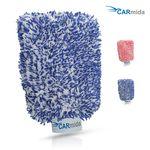 Premium Autowaschhandschuh aus saugfähigster Mikrofaser - Makelloser Auto- und Felgenhandschuh zur Autoreinigung und Autoaufbereitung (Blau | Weiß)