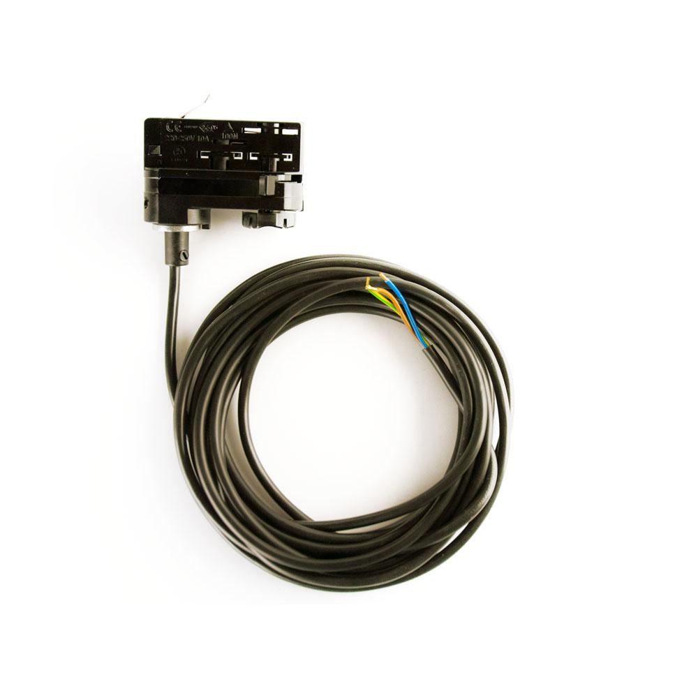 CLE 3-Phasen Stromschienenadapter Adapter schwarz mit 5m Kabel und Endhülsen