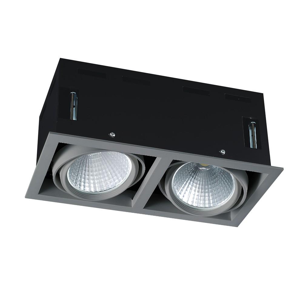 CLE LED Kardan Einbauleuchte YK2 mit Fortimo Philips SLM Modul 2x 3400lm 2x 28W alu-grau
