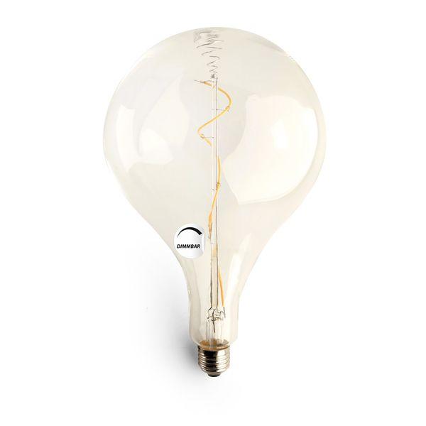 Gaga Lamp LED Steam Punk Bulb klar Filament Hängeleuchte Textilkabel grau E27 Fassung Bild 4