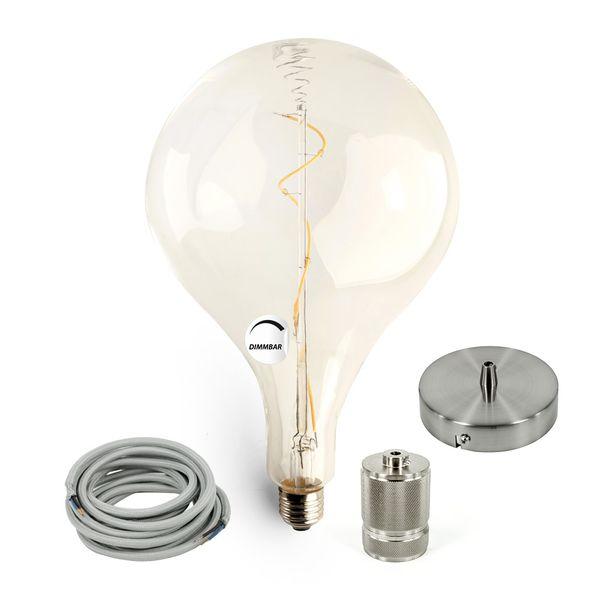 Gaga Lamp LED Steam Punk Bulb klar Filament Hängeleuchte Textilkabel grau E27 Fassung