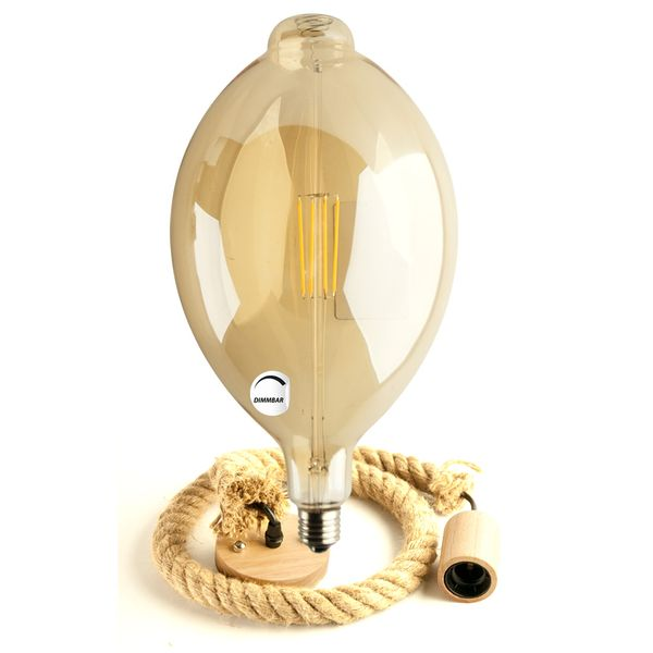 Gaga Lamp LED Steam Punk Bulb Bernstein Pin Ball Bulb Filament Hängeleuchte Tau Seil und E27 Fassung Holz  Bild 3
