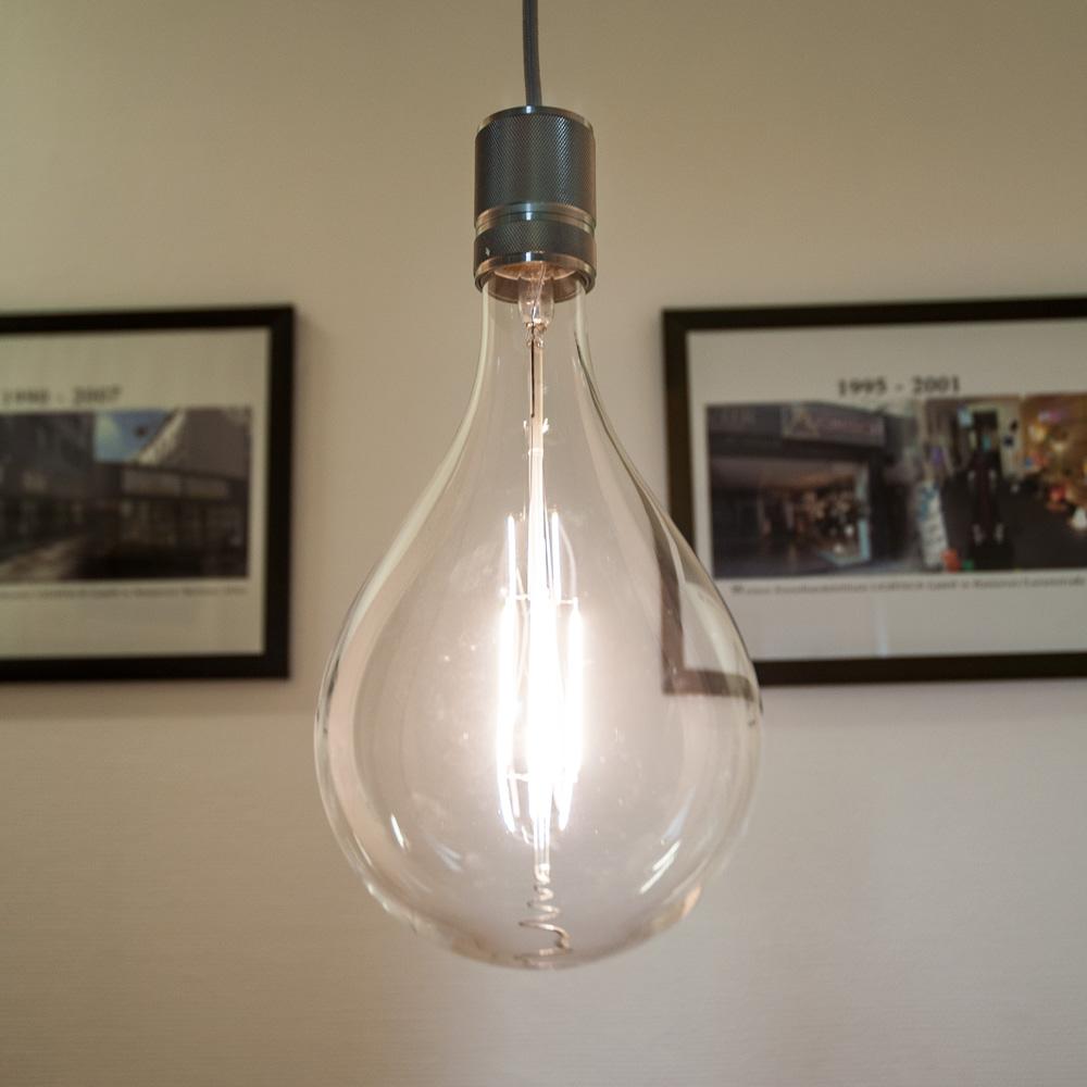 Gaga Lamp LED Steam Punk Bulb klar Carbon Filament Hängeleuchte Textilkabel grau E27 Fassung