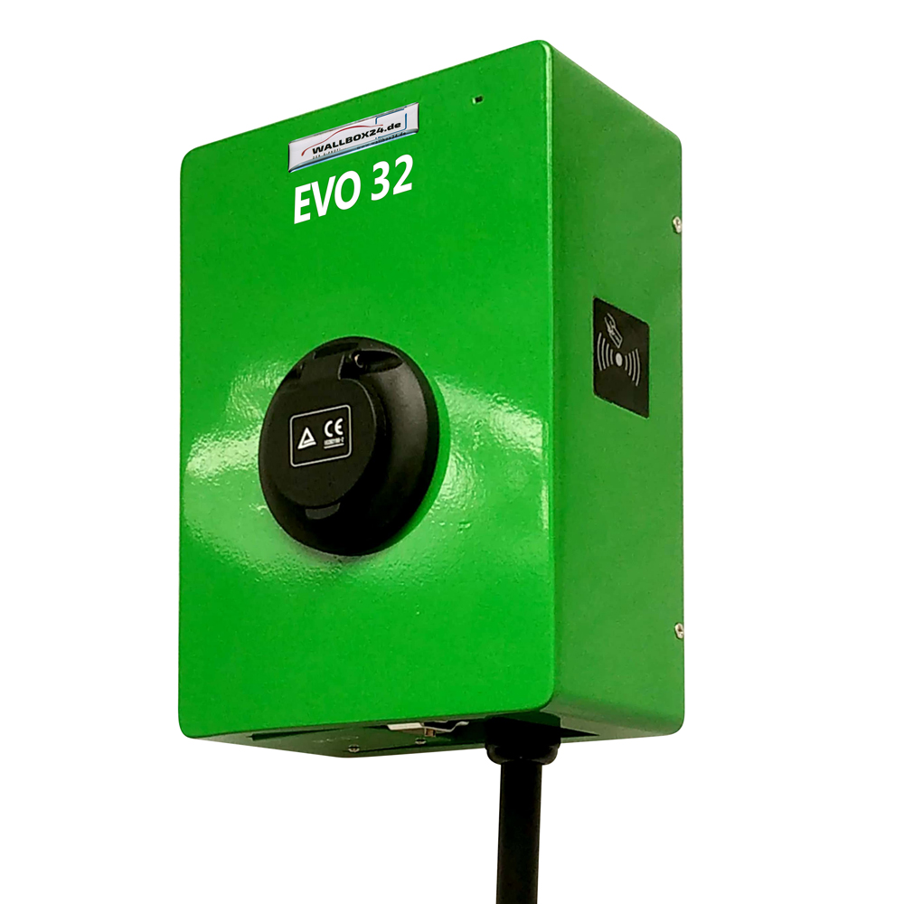 Ladegerät Wallbox EVO Serie 1 Phasig 230V 7.2kW 32A Typ 2 grün Steckdose für Elektrofahrzeug Hybrid EV