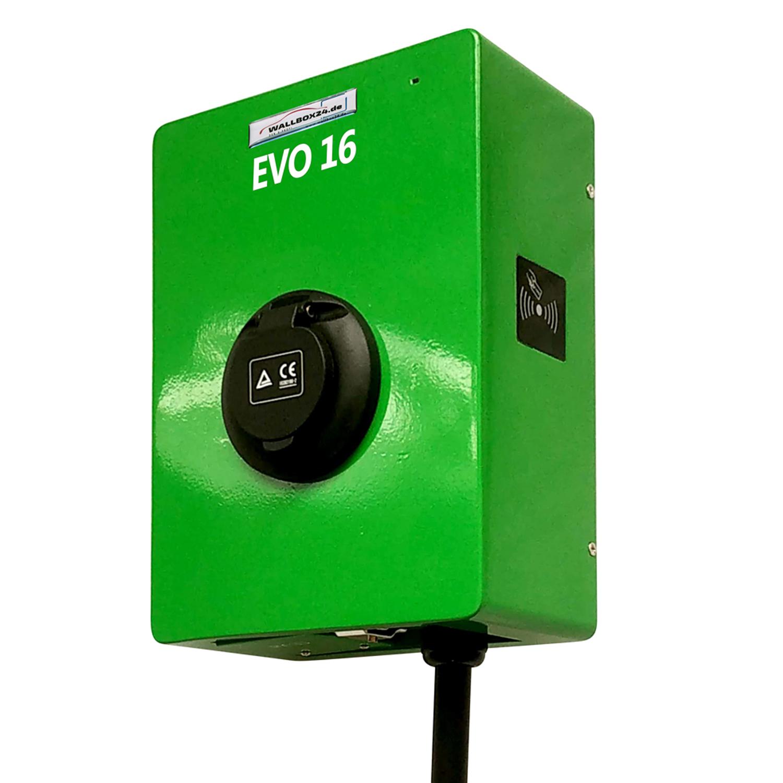Ladegerät Wallbox EVO Serie 3 Phasen 400V 11kW 16A Typ 2 Steckdose grün für Elektrofahrzeug Hybrid EV
