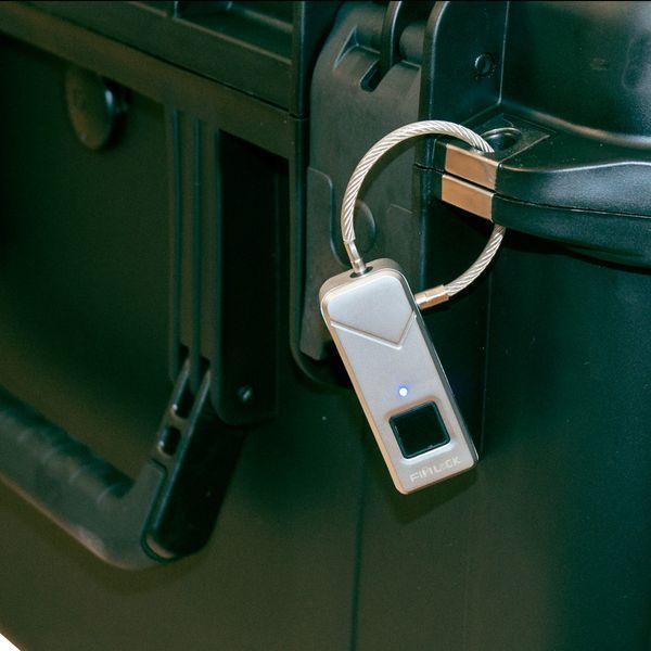 Schloss mit Fingerabdrucksensor Padlock Smart Keyless Lock Wasserdicht neongelb – Bild 3
